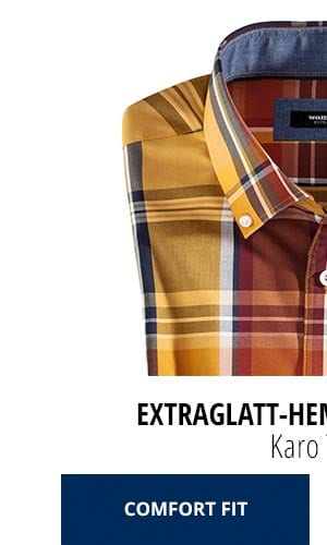 Extraglatt-Hemd Herbstlaub - Karo Terra, Comfort Fit | Walbusch