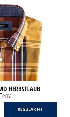 Extraglatt-Hemd Herbstlaub - Karo Terra, Regular Fit | Walbusch