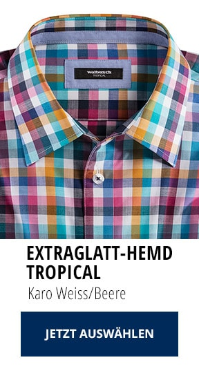 Extraglatt-Hemd Tropical Karo Weiss/Beere   Walbusch