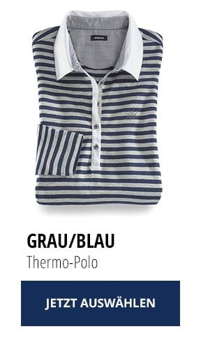 Jetzt testen: 2 Thermo-Polos nur Fr. 129,00: Grau/Blau | Walbusch