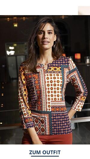 Outfit Trendfarben Viskose Shirt Mosaik | Walbusch