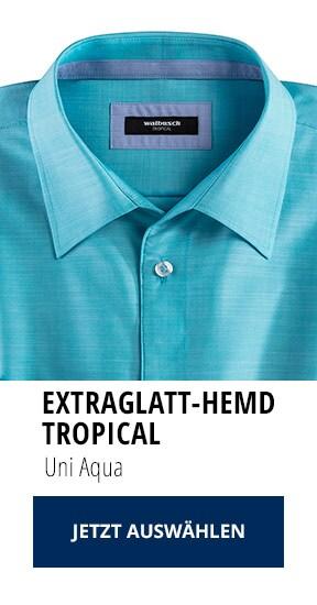 Extraglatt-Hemd Tropical Uni Aqua   Walbusch