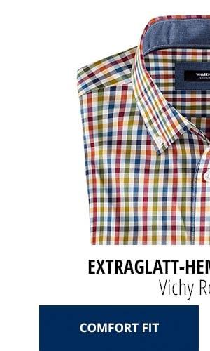 Extraglatt-Hemd Herbstlaub - Vichy Rot/Blau, Comfort Fit | Walbusch