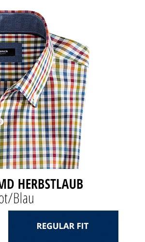 Extraglatt-Hemd Herbstlaub - Vichy Rot/Blau, Regular Fit | Walbusch