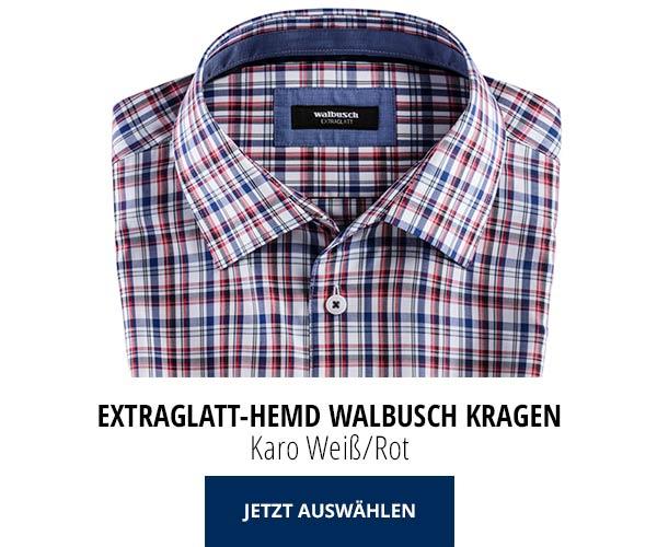 Extraglatt-Hemd Walbusch-Kragen Karo Weiß/Rot | Walbusch