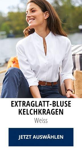 Extraglatt-Bluse Kelchkragen Weiss | Walbusch