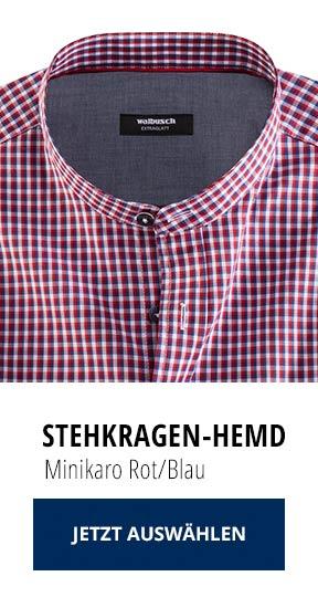 Stehkragen-Hemd Minikaro Rot/Blau   Walbusch