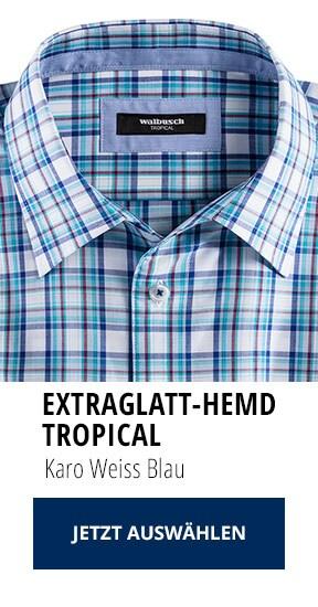 Extraglatt-Hemd Tropical Karo Weiss Blau   Walbusch