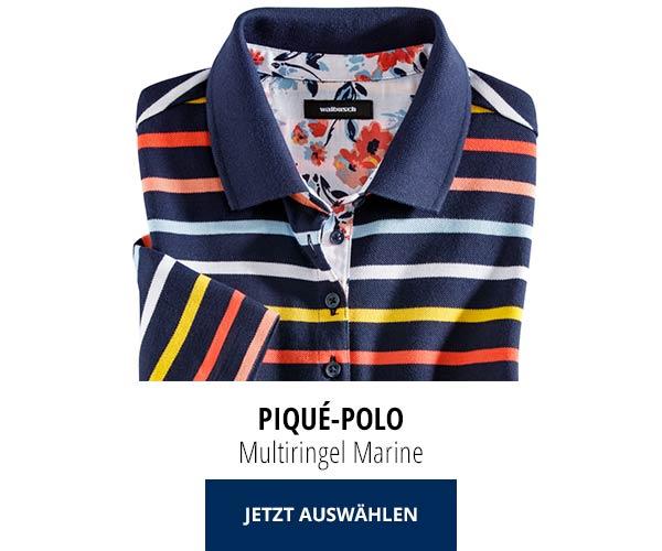 Piqué-Polo Sommer-Cotton Mulitringel Marine | Walbusch