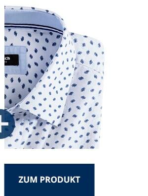 Seersucker-Hemd Hitzefrei, Print Weiß/Blau