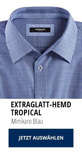 Extraglatt-Hemd Tropical Minikaro Blau   Walbusch