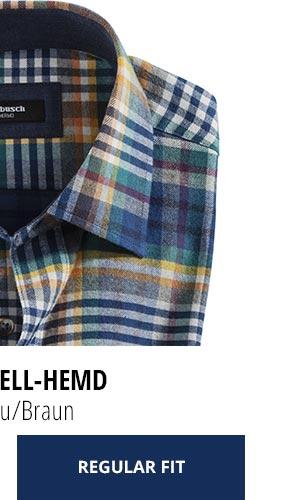 2 Softflanell-Hemden für nur Fr. 99,90: Karo Blau/Braun | Walbusch