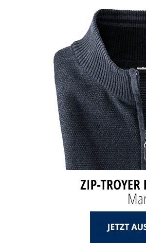 Zip-Troyer Herbstlaub - Marine | Walbusch