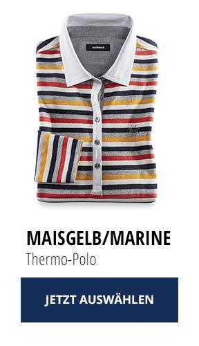Jetzt testen: 2 Thermo-Polos nur Fr. 129,00: Maisgelb/ Marine | Walbusch