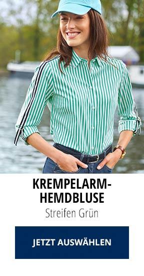 Krempelarm-Hemdbluse Streifen Grün | Walbusch