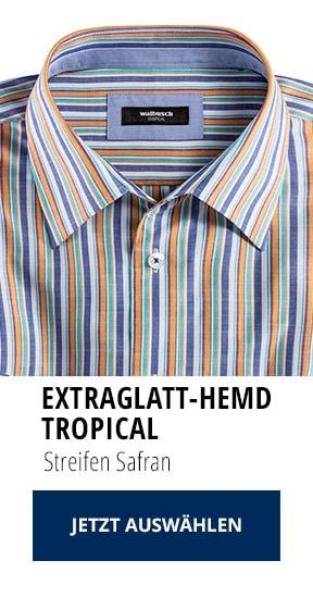 Extraglatt-Hemd Tropical Streifen Safran   Walbusch