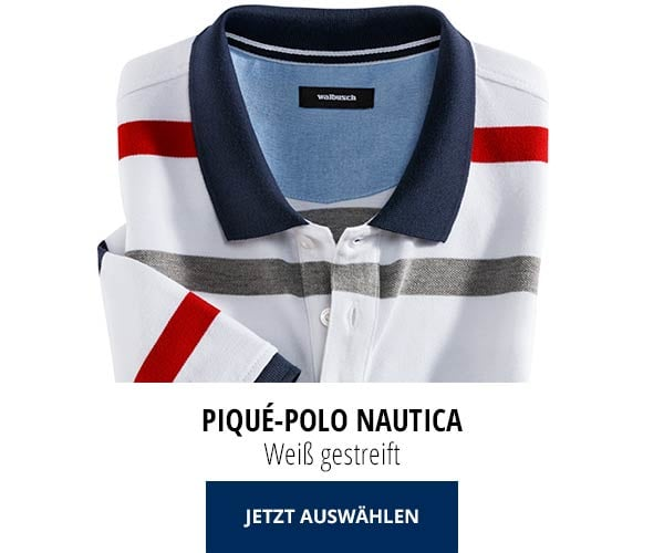 Piqué-Polo Nautica Weiß gestreift   Walbusch