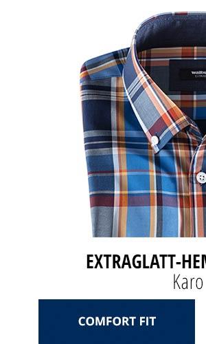 Extraglatt-Hemd Herbstlaub - Karo Blau, Comfort Fit | Walbusch