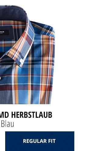 Extraglatt-Hemd Herbstlaub - Karo Blau, Regular Fit | Walbusch