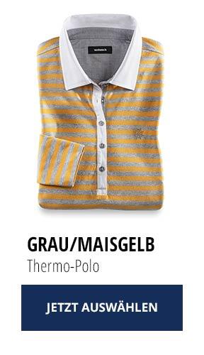 Jetzt testen: 2 Thermo-Polos nur Fr. 129,00: Grau/ Maisgelb | Walbusch