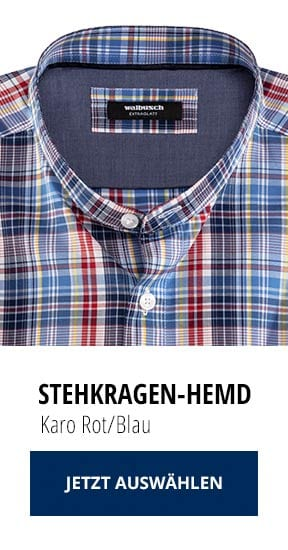 Stehkragen-Hemd Karo Rot/Blau   Walbusch