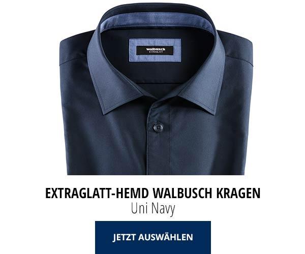 Extraglatt-Hemd Walbusch-Kragen Uni Navy | Walbusch