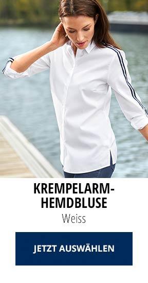 Krempelarm-Hemdbluse Weiss | Walbusch