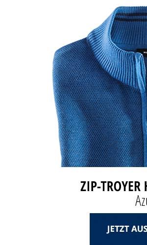 Zip-Troyer Herbstlaub - Azur | Walbusch