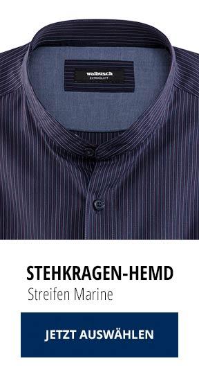 Stehkragen-Hemd Streifen Marine   Walbusch