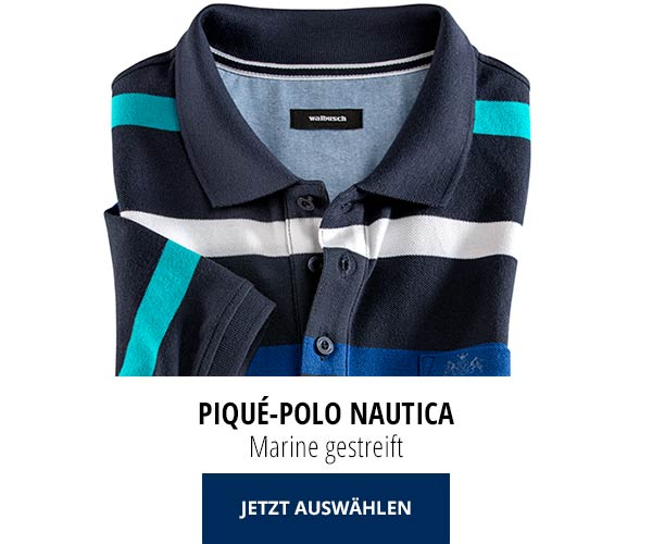 Piqué-Polo Nautica Marine gestreift   Walbusch