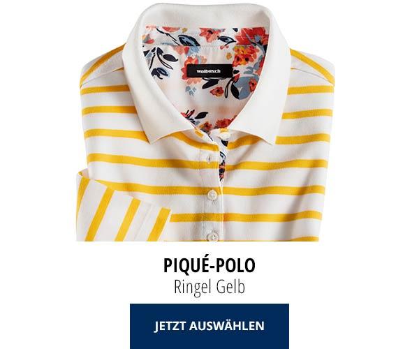 Piqué-Polo Sommer-Cotton Ringel Gelb | Walbusch