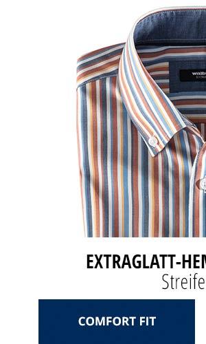 Extraglatt-Hemd Herbstlaub - Streifen Blau, Comfort Fit | Walbusch