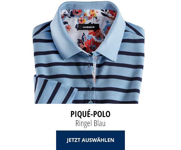 Piqué-Polo Sommer-Cotton Ringel Blau | Walbusch