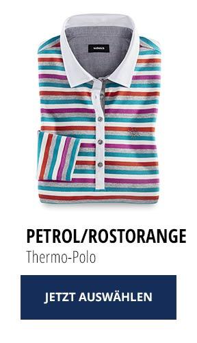 Jetzt testen: 2 Thermo-Polos nur Fr. 129,00: Petrol/ Rostorange | Walbusch