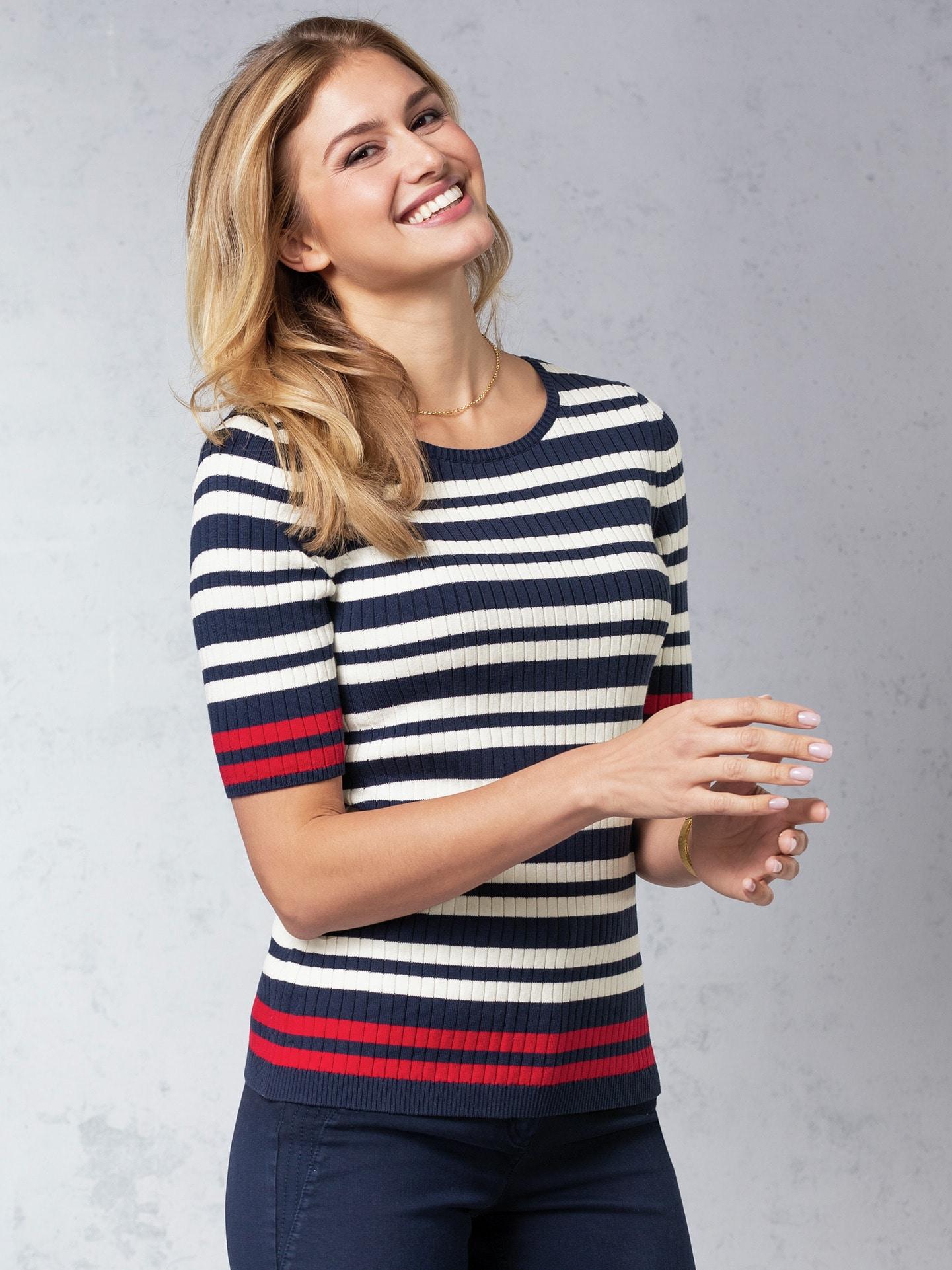 Image of Strick Shirt Pima Cotton Streifen
