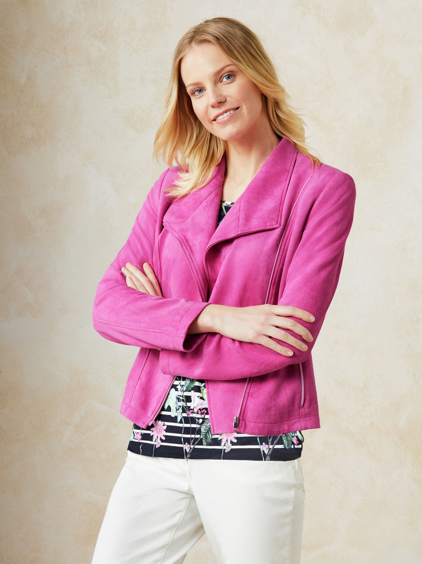 Image of Betty Barclay Velours-Bikerjacke