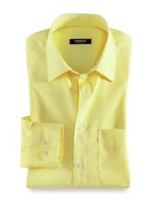 Extraglatt-Hemd Kent-Kragen Gelb Detail 1