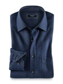 Softflanell-Hemd Uni Blau Detail 1