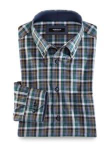 Extraglatt-Hemd Button Down Karo Petr. Blau Detail 1