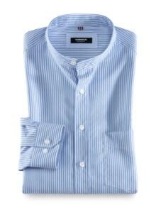 Stehkragen-Hemd Extraglatt Streifen Blau Detail 1