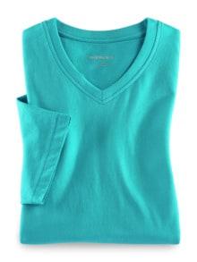 T-Shirt V-Ausschnitt Aqua Detail 1