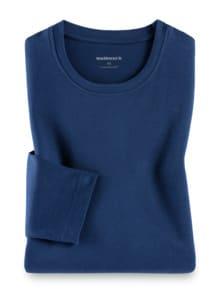 Langarm-Shirt Rundhalsausschnitt Blau Detail 1