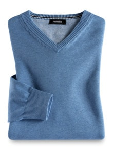 V-Pullover Soft Cotton Azurblau Detail 1