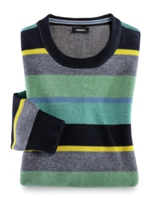 Streifen-Pullover Soft Cotton Mint/Gelb Detail 1