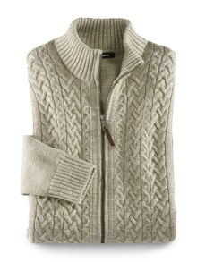 Zopf-Strickjacke Natural Cotton