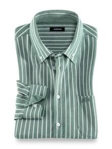 Komfort-Shirt Extraglatt Grün gestreift Detail 1