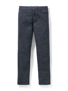 Five-Pocket Soft Flanell Glencheck Blau/Marine Detail 1