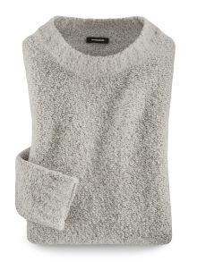 Soft-Boucle-Pullover Weiß-Grau Detail 2