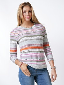 Baumwollpullover Ajour Pink/Khaki/Orange Detail 1