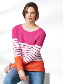 Pullover Bretonstreifen Orange/Pink/Weiß Detail 1